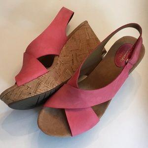 Women's Clark's Coral Nubuck Cork Wedge Sandals